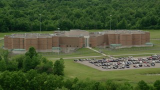 AX106_085 - 5K stock footage aerial video of the Ohio State Penitentiary, Youngstown, Ohio
