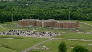 AX106_087 - 5K stock footage aerial video of Ohio State Penitentiary, Youngstown, Ohio