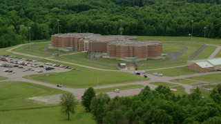 AX106_088 - 5K stock footage aerial video orbiting Ohio State Penitentiary, Youngstown, Ohio