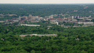 AX106_093 - 5K stock footage aerial video of high rises, Downtown Youngstown, Ohio