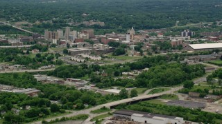 AX106_096 - 5K stock footage aerial video of campus buildings at Youngstown State University, Ohio
