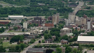 AX106_098 - 5K stock footage aerial video orbiting the campus of Youngstown State University, Ohio