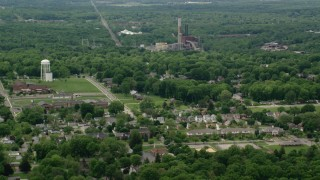 AX106_105 - 5K stock footage aerial video of Niles Generating Station Power Plant, Niles, Ohio