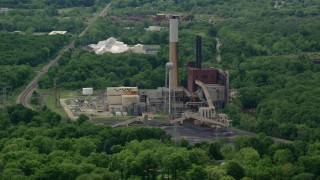 AX106_106 - 5K stock footage aerial video of Niles Generating Station Power Plant, Niles, Ohio