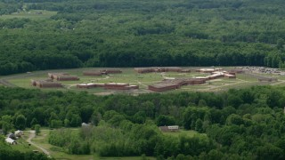 AX106_118 - 5K stock footage aerial video of Trumbull Correctional Institute Prison in Leavittsburg, Ohio