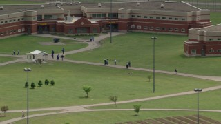 AX106_123 - 5K stock footage aerial video of Trumbull Correctional Institute Prison Grounds in Leavittsburg, Ohio