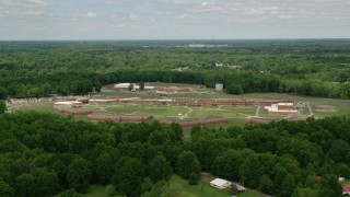 AX106_127 - 5K stock footage aerial video of Trumbull Correctional Institute Prison Complex in Leavittsburg, Ohio