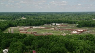 AX106_128 - 5K stock footage aerial video orbiting Trumbull Correctional Institute Prison Complex in Leavittsburg, Ohio