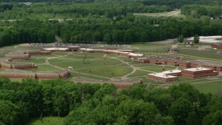 AX106_129 - 5K stock footage aerial video of Trumbull Correctional Institute Prison Complex in Leavittsburg, Ohio