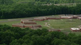 AX106_130 - 5K stock footage aerial video of Trumbull Correctional Institute Prison Complex in Leavittsburg, Ohio