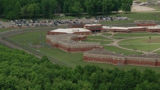 AX106_133 - 5K stock footage aerial video of Trumbull Correctional Institute Prison Complex in Leavittsburg, Ohio