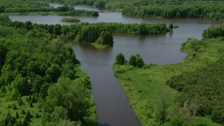 AX106_154 - 5K stock footage aerial video flying over Akron City Reservoir, Chagrin Falls, Ohio