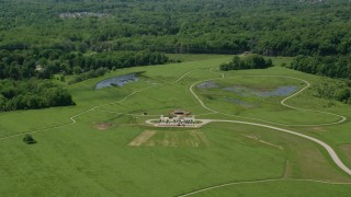 AX106_175 - 5K stock footage aerial video of green lawns at Frohring Meadows Park, Chagrin Falls, Ohio