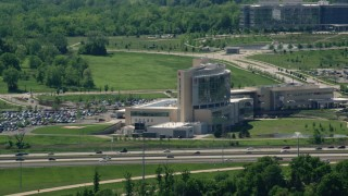 AX106_181 - 5K stock footage aerial video of Modern Hospital, Ahuja Medical Center, Beachwood, Ohio