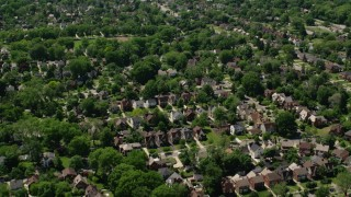AX106_187 - 5K stock footage aerial video flying over suburban residential Neighborhoods, Cleveland, Ohio