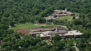 AX106_189 - 5K stock footage aerial video approaching a high school in Shaker Heights, Ohio