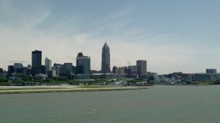 AX106_205 - 5K stock footage aerial video of the skyline and waterfront in Downtown Cleveland, Ohio
