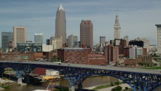AX106_215 - 5K stock footage aerial video of skyscrapers in Downtown Cleveland, Ohio