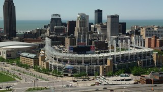 AX106_221 - 5K stock footage aerial video of Progressive Field baseball stadium in Downtown Cleveland, Ohio