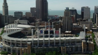 AX106_222 - 5K stock footage aerial video orbiting Progressive Field baseball stadium in Downtown Cleveland, Ohio