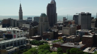 AX106_223 - 5K stock footage aerial video of skyscrapers and high-rises in Downtown Cleveland, Ohio