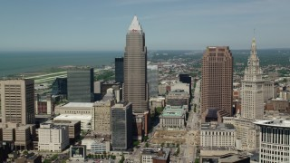 AX106_234 - 5K stock footage aerial video orbiting Key Tower and Terminal Tower in Downtown Cleveland, Ohio