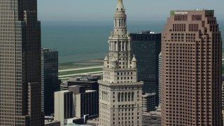AX106_235 - 5K stock footage aerial video orbiting Terminal Tower in Downtown Cleveland, Ohio