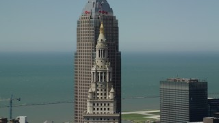AX106_236 - 5K stock footage aerial video of Terminal Tower and Key Tower in Downtown Cleveland, Ohio