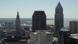 AX106_240 - 5K stock footage aerial video of 200 Public Square and Key Tower in Downtown Cleveland, Ohio
