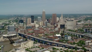 AX106_245 - 5K stock footage aerial video of skyscrapers in Downtown Cleveland, Ohio