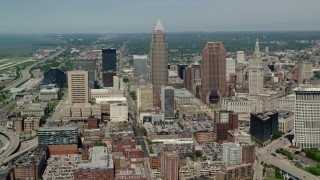 AX106_247 - 5K stock footage aerial video of Key Tower and 200 Public Square in Downtown Cleveland, Ohio