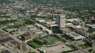 AX106_254 - 5K stock footage aerial video of the campus of Cleveland State University in Cleveland, Ohio