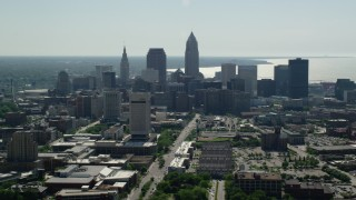 AX107_005 - 5K stock footage aerial video of Downtown Cleveland and Cleveland State University, Ohio