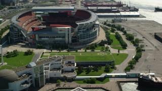 AX107_012 - 5K stock footage aerial video orbiting FirstEnergy Stadium, formerly Cleveland Browns Football Stadium, Ohio
