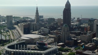 AX107_027 - 5K stock footage aerial video of Progressive Field in Downtown Cleveland, Ohio