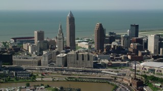 AX107_032 - 5K stock footage aerial video of Terminal Tower and Tower City Station, Downtown Cleveland, Ohio