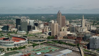 AX107_040 - 5K stock footage aerial video of Downtown Cleveland and FirstEnergy Stadium, formerly Cleveland Browns Stadium, Ohio