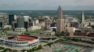 AX107_041 - 5K stock footage aerial video of Cleveland Mall, FirstEnergy Stadium, formerly Cleveland Browns Stadium and City Hall, Downtown Cleveland, Ohio