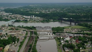 AX107_134 - 5K stock footage aerial video of three bridges spanning a river, Ohio River, Beaver, Pennsylvania