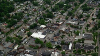 AX107_154 - 5K stock footage aerial video flying over small town, Sewickley, Pennsylvania