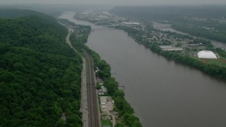 AX107_157 - 5K stock footage aerial video approaching a small bridge spanning Ohio River to Neville Island, Pittsburgh