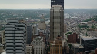 AX107_176 - 5K stock footage aerial video orbiting BNY Mellon Center and U.S. Steel Tower, Pittsburgh, Pennsylvania
