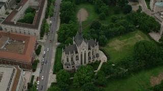 AX107_184 - 5K stock footage aerial video orbiting Heinz Memorial Chapel, University of Pittsburgh, Pennsylvania