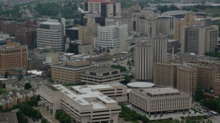 AX107_189 - 5K stock footage aerial video of campus buildings and dormitories, University of Pittsburgh, Pennsylvania