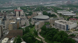 AX107_191 - 5K stock footage aerial video of Petersen Events Center, University of Pittsburgh, Pennsylvania