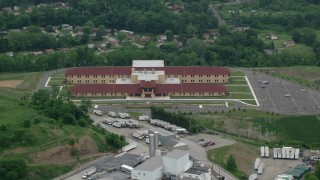 AX107_208 - 5K stock footage aerial video orbiting an elementary school, Penn Hills, Pennsylvania