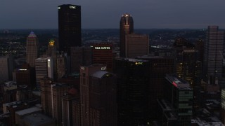 AX108_071 - 4K stock footage aerial video of Downtown Pittsburgh skyscrapers, Pennsylvania, twilight