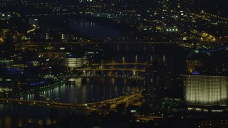 AX108_201 - 4K stock footage aerial video flying by bridges spanning the Allegheny River, Downtown Pittsburgh, Pennsylvania