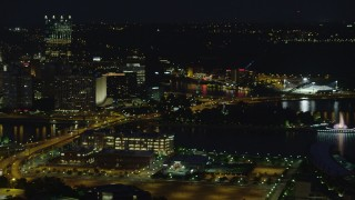 AX108_215 - 4K stock footage aerial video of Point State Park and Heinz Field, Pittsburgh, night