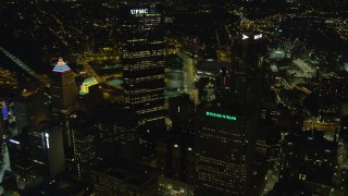 AX108_238 - 4K stock footage aerial video flying toward U.S. Steel Tower, BNY Mellon Center, Pittsburgh, night